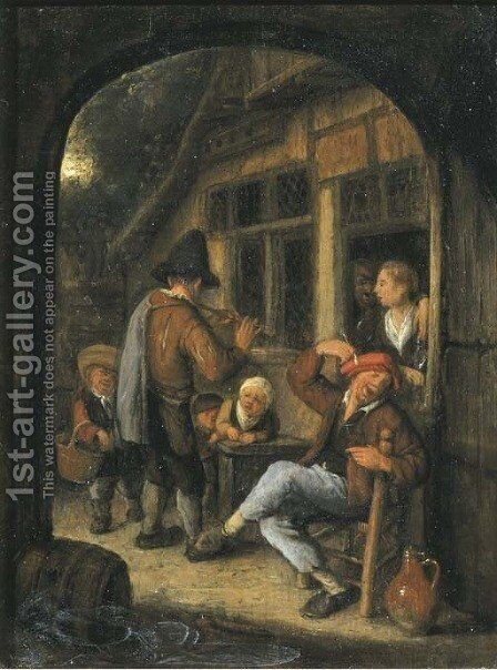 Peasants by a doorway with a pipe player, through an open arch by Cornelis Dusart - Reproduction Oil Painting