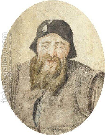 Portrait of a bearded man with a pipe in his hat, half-length by Cornelis Dusart - Reproduction Oil Painting