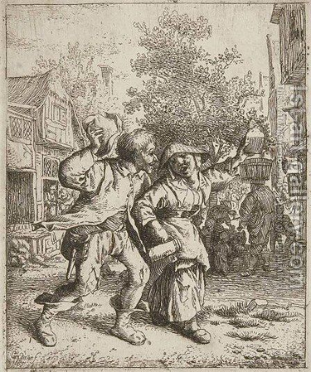 The drunk Couple by Cornelis Dusart - Reproduction Oil Painting