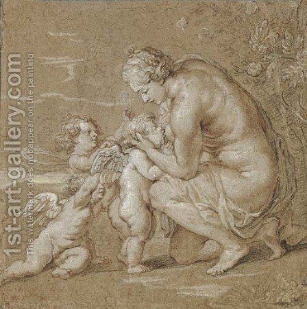 Venus suckling putti by Cornelis Galle - Reproduction Oil Painting