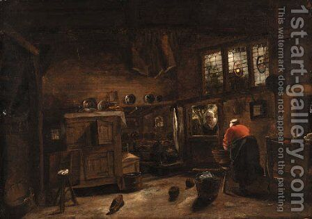 A cottage interior with a washerwoman by Cornelius Decker - Reproduction Oil Painting