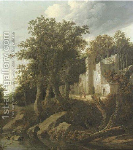 A wooded river landscape with figures conversing outside a ruinous building by Cornelius Decker - Reproduction Oil Painting