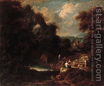 An Italianate landscape with peasants resting on a track by a stream by Cornelis Huysmans - Reproduction Oil Painting