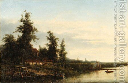 A cottage by a river by Cornelis Johannes De Vogel - Reproduction Oil Painting