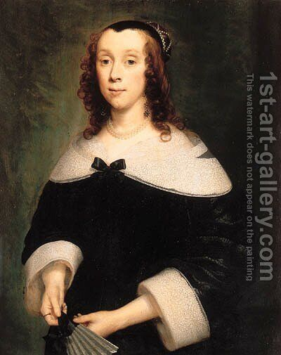 Portrait of a lady, half-length, in a black dress with a lace collar and cuffs, holding a fan by Cornelius Janssens van Ceulen - Reproduction Oil Painting