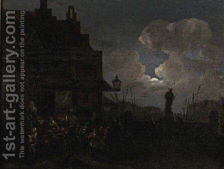 A fruit market in Rotterdam, at night by Jan Snellinck - Reproduction Oil Painting