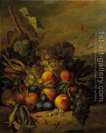 Still life with grapes, peaches and plums in a landscape by Cornelis Johannes Van Hulstijn - Reproduction Oil Painting