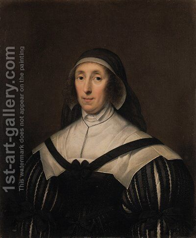 Portrait of Lady Palmer, half-length, in a black dress with a white collar by Cornelius Jonson - Reproduction Oil Painting