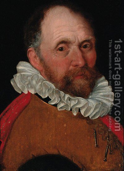 Portrait of an elderly man, bust-length, in a jerkin and a red cloak by Cornelis Ketel - Reproduction Oil Painting