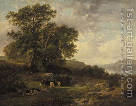 A rhenish river landscape with a herdsman and cattle by Cornelis Kimmel - Reproduction Oil Painting