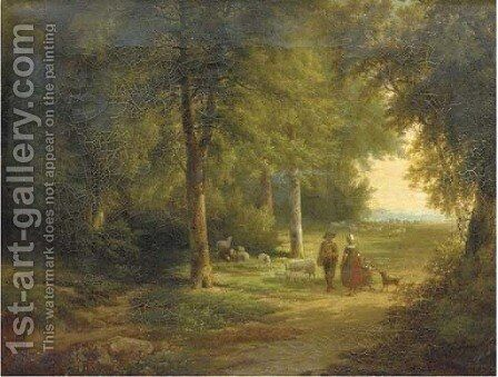 Chatting on a forest path by Cornelis Kimmel - Reproduction Oil Painting