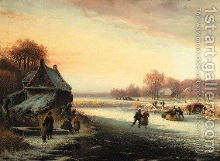 Winterfun skaters on the ice by Cornelis Kimmel - Reproduction Oil Painting