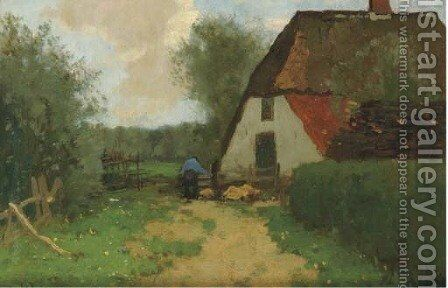 A farmer at work, The Veluwe by Cornelis Kuijpers - Reproduction Oil Painting