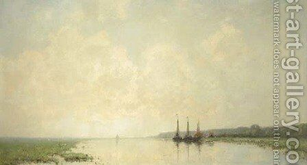 Moored boats on a river at dawn, Renkum by Cornelis Kuypers - Reproduction Oil Painting