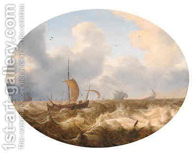 A smalschip running before the wind offshore, other shipping beyond, as a storm approaches by Cornelis Stooter - Reproduction Oil Painting