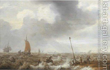 Shipping in choppy seas with fishermen on the shore in the right foreground, a town beyond by Cornelis Stooter - Reproduction Oil Painting