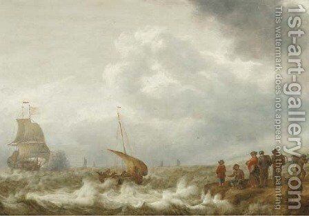 Shipping off the coast in a stiff breeze, figures on the shoreline in the foreground by Cornelis Stooter - Reproduction Oil Painting