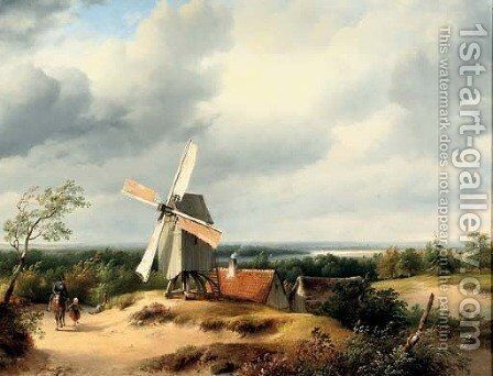 Travellers passing a mill in an extensive river landscape by Cornelis Lieste - Reproduction Oil Painting