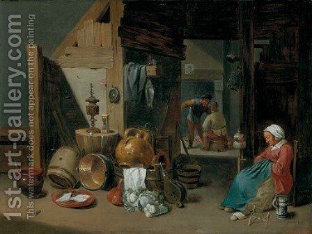A kitchen interior by Cornelis Mahu - Reproduction Oil Painting