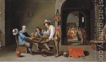 Officers and peasants playing backgammon and other games in a guardroom by Cornelis Mahu - Reproduction Oil Painting