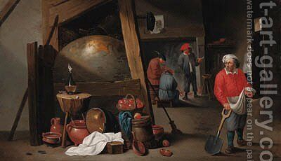 Peasants in a tavern by Cornelis Mahu - Reproduction Oil Painting