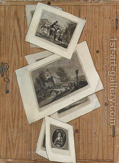 Trompe l'oeils of a collection of prints stuck to cupboard doors by Cornelis Norbertus Gysbrechts - Reproduction Oil Painting