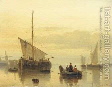A calm shipping in an estuary at dusk by Cornelis Petrus T' Hoen - Reproduction Oil Painting