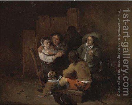 Peasants in an interior by Cornelis (Pietersz.) Bega - Reproduction Oil Painting