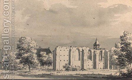The ruined church of Keent, near Nijmegen by Cornelis Pronk - Reproduction Oil Painting