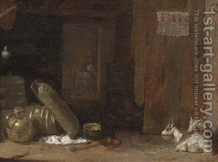 A barn interior with goats and a lady milking a goat beyond by Cornelis Saftleven - Reproduction Oil Painting