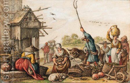 A country market by a house with a dovecote by Cornelis Saftleven - Reproduction Oil Painting