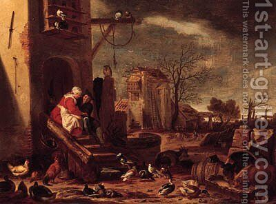 A couple embracing by a farmhouse, the Prodigal Son among swine beyond by Cornelis Saftleven - Reproduction Oil Painting