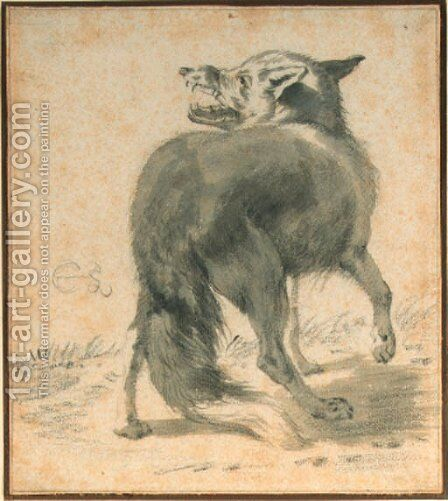 Study of a wolf, seen from behind by Cornelis Saftleven - Reproduction Oil Painting