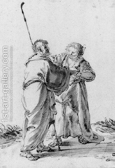 A Woman helping a blind Pilgrim by Cornelis Saftleven - Reproduction Oil Painting