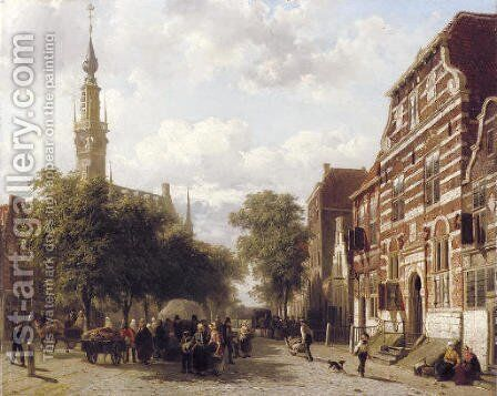 A busy market in Veere with the bell-tower of the town hall beyond by Cornelis Springer - Reproduction Oil Painting