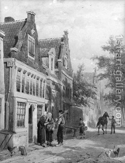 A streetscene with villagers conversing on a doorstep by Cornelis Springer - Reproduction Oil Painting
