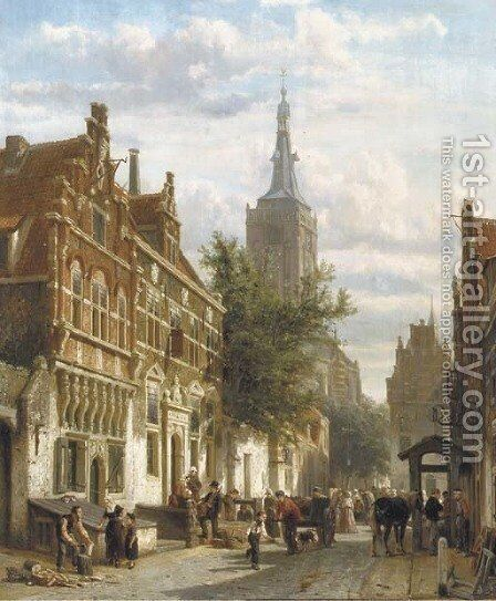 A sunny view of the Nieuwstraat in the Dutch town of Hasselt, with the St. Stephanus church beyond by Cornelis Springer - Reproduction Oil Painting