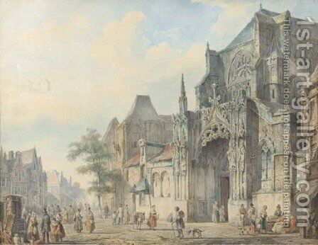 A townview with figures on a church square by Cornelis Springer - Reproduction Oil Painting