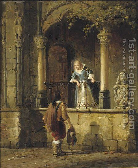 An amorous encounter by Cornelis Springer - Reproduction Oil Painting