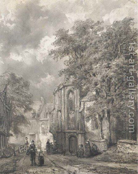 Asperen a town view with figures by a church by Cornelis Springer - Reproduction Oil Painting
