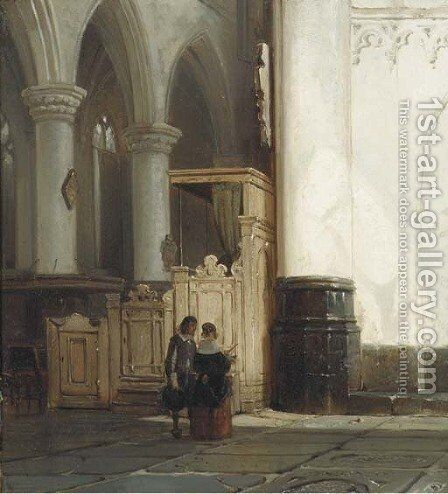 Church interior with an elegant couple by Cornelis Springer - Reproduction Oil Painting