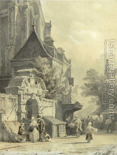 Daily activities on a church square by Cornelis Springer - Reproduction Oil Painting