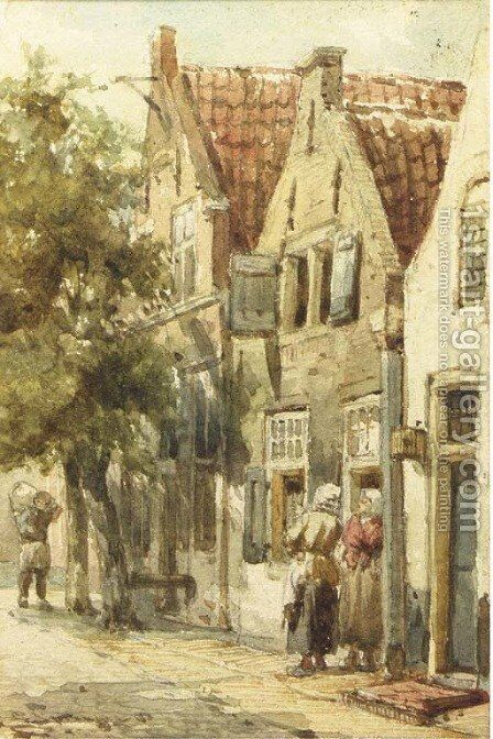 Figures conversing in a street, Monnickendam by Cornelis Springer - Reproduction Oil Painting