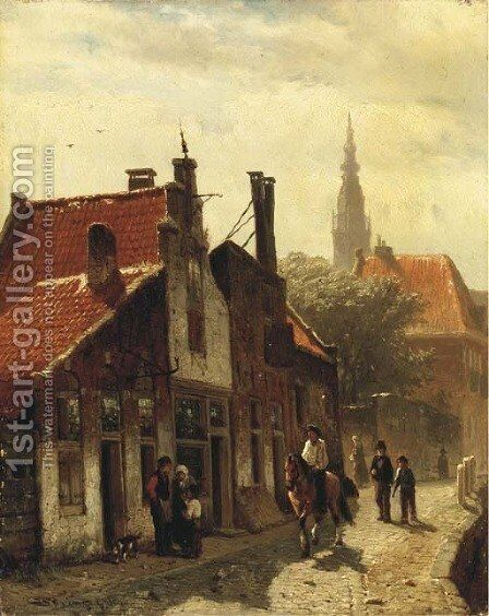 Gezicht op de Voldersgracht te Haarlem figures on a canal side in Haarlem, the St. Bavo church beyond by Cornelis Springer - Reproduction Oil Painting