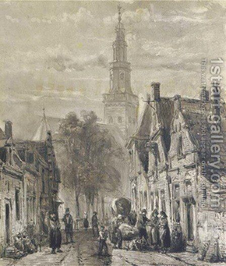 Hinloopen Activities in the Dutch town of Hindelopen by Cornelis Springer - Reproduction Oil Painting