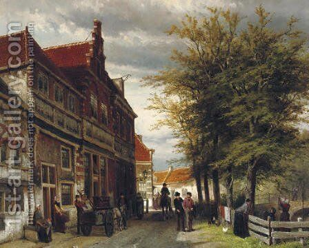 Huizen van Bossu te Hoorn a busy day at the Slapershaven by Cornelis Springer - Reproduction Oil Painting