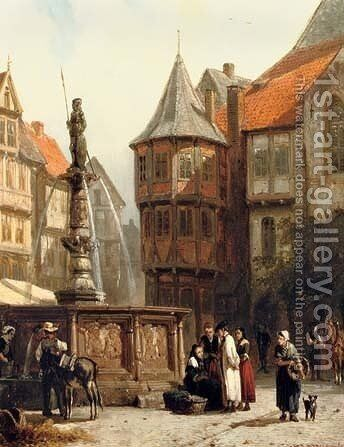 Marketday in front of the Town Hall of Hildesheim by Cornelis Springer - Reproduction Oil Painting