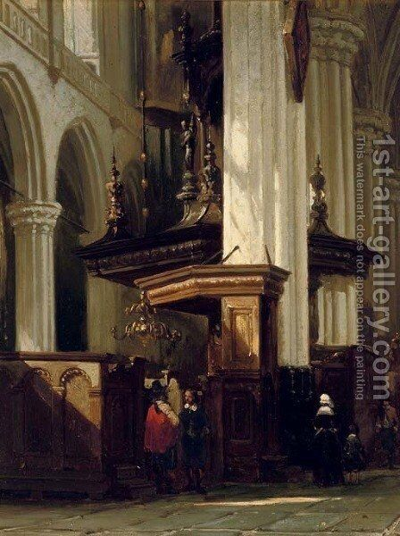 The interior of the Nieuwe Kerk, Amsterdam by Cornelis Springer - Reproduction Oil Painting