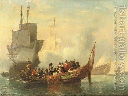 The salute a noble company surveying a fleet by Cornelis Springer - Reproduction Oil Painting