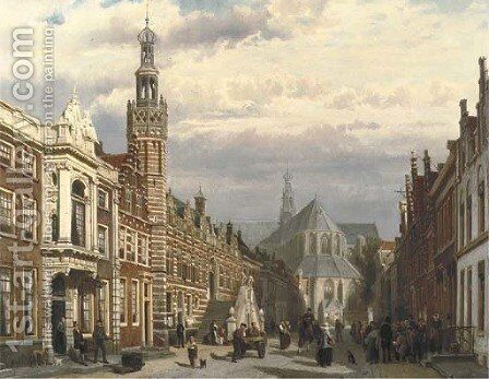 View of the Town Hall and the St. Laurenschurch in Alkmaar by Cornelis Springer - Reproduction Oil Painting